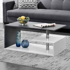 en casa couchtisch haarlem wohnzimmertisch mit ablagefach 90x50x41cm weiß dunkelgrau