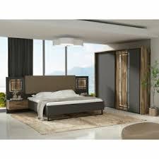 details zu schlafzimmer set sirius black bett schrank nako in grau und stabeiche mit led