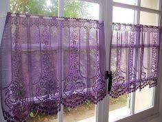 aubergine lace cafe curtains purple kitchen by hatchedinfrance