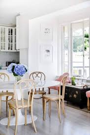 Marble Dining Table With Bentwood Rattan Wicker Chairs ...