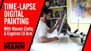 Lx Desk Mount Lcd Arm Cintiq by Ergotron Lx U0026 Wacom Cintiq Time Lapse Digital Painting Youtube