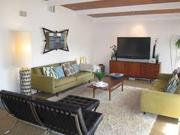 barcelona chair mid century themed living room