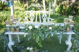Vintage Sweetheart Table And Chairs Mercury Glass Candleholders Greenery White Roses In Reception