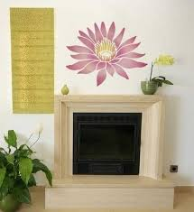Large Flower Stenciling And Painting Idea For Fireplace Wall Decorating Pleasant Modern Design