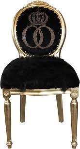 pompöös by casa padrino luxus barock esszimmer stuhl kunstfell schwarz gold krone mit glitzersteinen pompööser barock stuhl designed by harald
