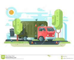 Garbage Truck Collects Garbage In Park Stock Vector - Illustration ...