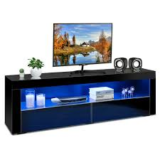 Costway Costway High Gloss TV Stand Media Entertainment WLED Lights Drawers For 65