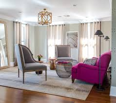 Chic Floor Lamp With Magenta Colored Armchair For Classic Living Room Ideas Elegant French Chairs