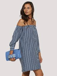 buy spring break stripe off shoulder shirt dress for women