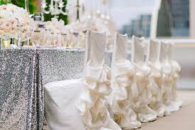 Amazing Reception Dcor Photos White Ruffle Chair Covers With Pick Ups Pertaining To Wedding Modern Dining Room
