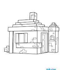 House Coloring Page From Minecraft Video Game More Content On Hellokids