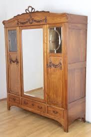 details zu kleiderschrank louis seize dielenschrank eiche massiv spiegel schlafzimmer antik