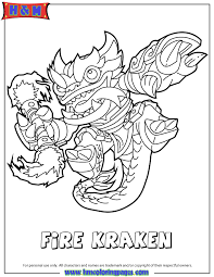 Printable Skylanders Swap Force With Fire Kraken Type Coloring Pages For Free To Download And Print