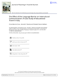 PDF The Effect Of Language Barrier On
