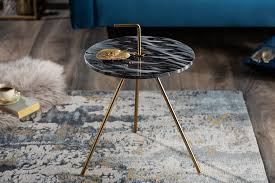 beistelltisch metall marmor rund 36cm grau gold