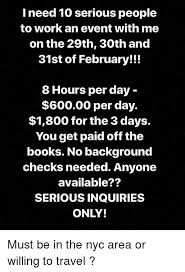 Books Work And Travel I Need 10 Serious People To An Event