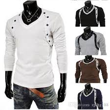Men Fashion Brand T Shirt 2015 New Full Sleeve Tees Solid Unique Design Dress Size M Xxl 13t03 Awesome Shirts For Shopping Online