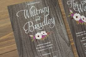 Rustic Wedding Program With Floral Illustration And Wood Background