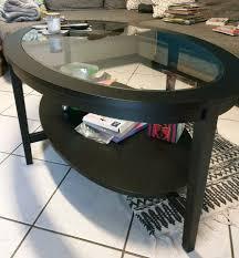 ikea couchtisch glastisch glas oval schwarz wohnzimmer tisch