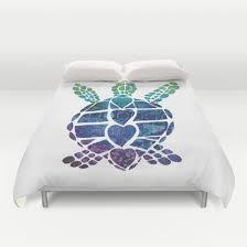 Sea Turtle Duvet Cover or forter Ocean surf art duvet or