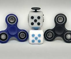 Fidget Spinners Cubes 4 PCS Combo Total Black Blue White Gr
