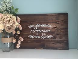 Rustic Wedding Guest Book Alternative Family Name Laurel Leaf Design Painted Decor Wood Country Gift