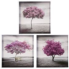 Pyradecor 3 Piece Purple Trees Modern Stretched And Framed Landscape Artwork Giclee Canvas Prints Fall Forest Pictures Paintings On Wall Art For