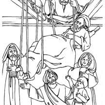 The Healing Of Paralityc Is Miracles Jesus Coloring Page