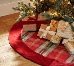Newbury Plaid Tree Skirt With Red Velvet Cuff