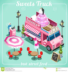 100 Breakfast Food Truck Candy 3D Isometric Vehicles Stock Vector Illustration