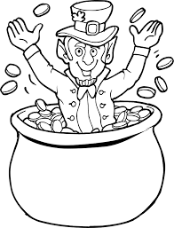Leprechaun And Pot Of Gold Coloring Pages