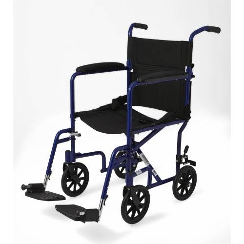 "Medline Aluminum Transport Chair with 8"" Wheels Blue"