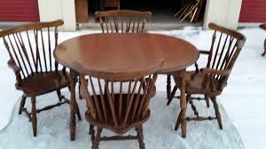 Sale Dark Wood Dining Set W 4 Windsor Type Chairs Furniture In Lorain OH