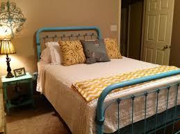 1930s Iron Bed Repainted With Krylon Aqua Glazed Details A Sponge Brush Using