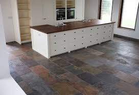 Natural Slate Flooring Ideas For Your House On Small Kitchen With Wooden Island
