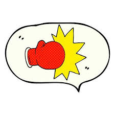 Freehand Drawn Comic Book Speech Bubble Cartoon Boxing Glove Illustration