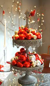 Sophisticated Christmas Table Arrangements With White And Red Dining Themes Decor Also