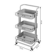 küchentrolley küchenwagen rollwagen servierwagen metall für küche bad büro 4 farben kingpower farbe blau