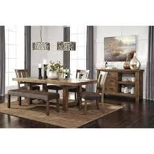 Ashley Dining Table Signature Design By Gray Brown Rectangle Extension Room Furniture