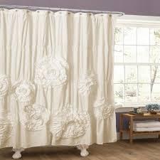 Pink Ruffled Window Curtains by Lush Decor Serena Ruffle Trim Shower Curtain Overstock Com