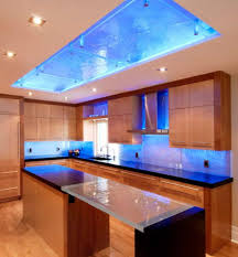 kitchen with blue led accent lighting in the cabinets