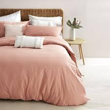 Felicia Cotton Linen Quilt Cover Set Queen Bed Terra Rosa Kmart