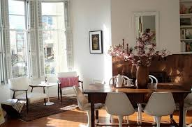 View In Gallery Eclectic Dining Room With Pink Blossoms