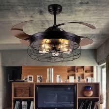 2in1 led lüfter kronleuchter einziehbarer fan deckenleuchte deckenventilator mit licht und fernbedienung café flur wohnzimmer 108cm leise