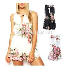 Fashion Urban Outfitters New 2014 Summer Shorts Women Cutout Floral Romper Jumpsuit Female Playsuitl