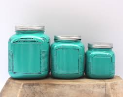 Canisters Captivating Turquoise Kitchen Pottery Canister Sets Metal Lid Vintage Round Set