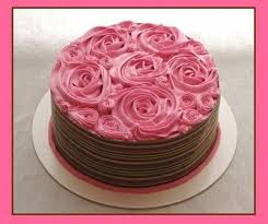pink roses and chocolate cake
