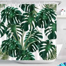 180x200cm duschvorhang dunkel grün monstera blätter wasserdicht anti schimmel weiß polyester badezimmer vorhänge mit 12 haken tropisch dschungel