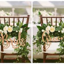 Bride And Groom Chair Signs Rustic Wedding Wooden SignWood SignsPhoto