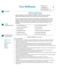 Production Manager Resume
